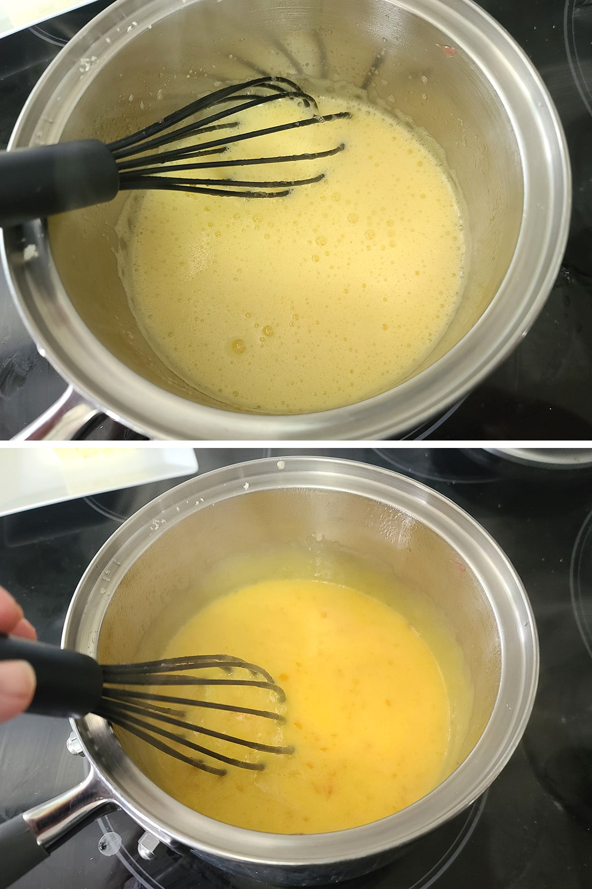 Grapefruit curd being cooked in a pot.