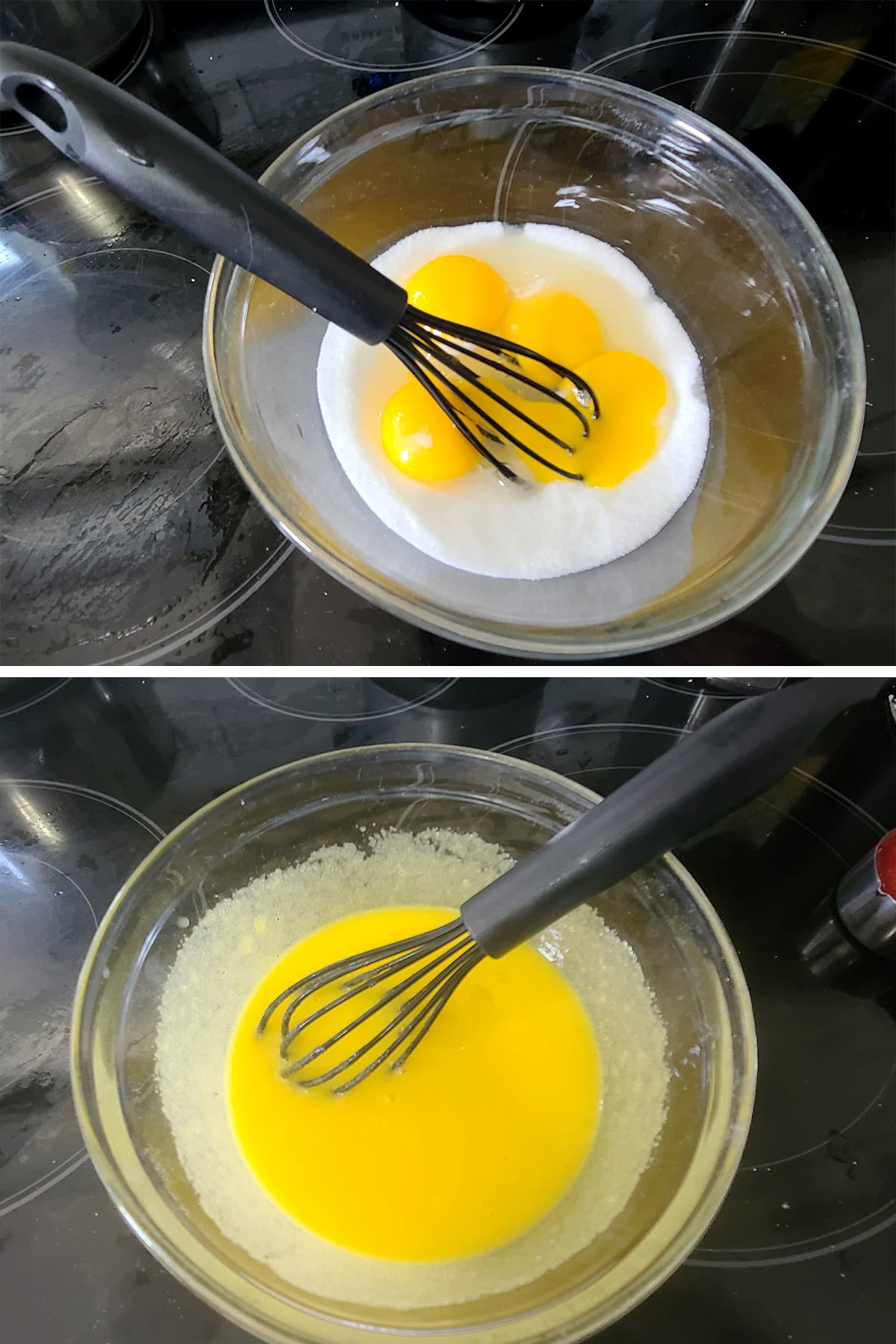 Eggs and sugar being whisked together in a glass bowl.