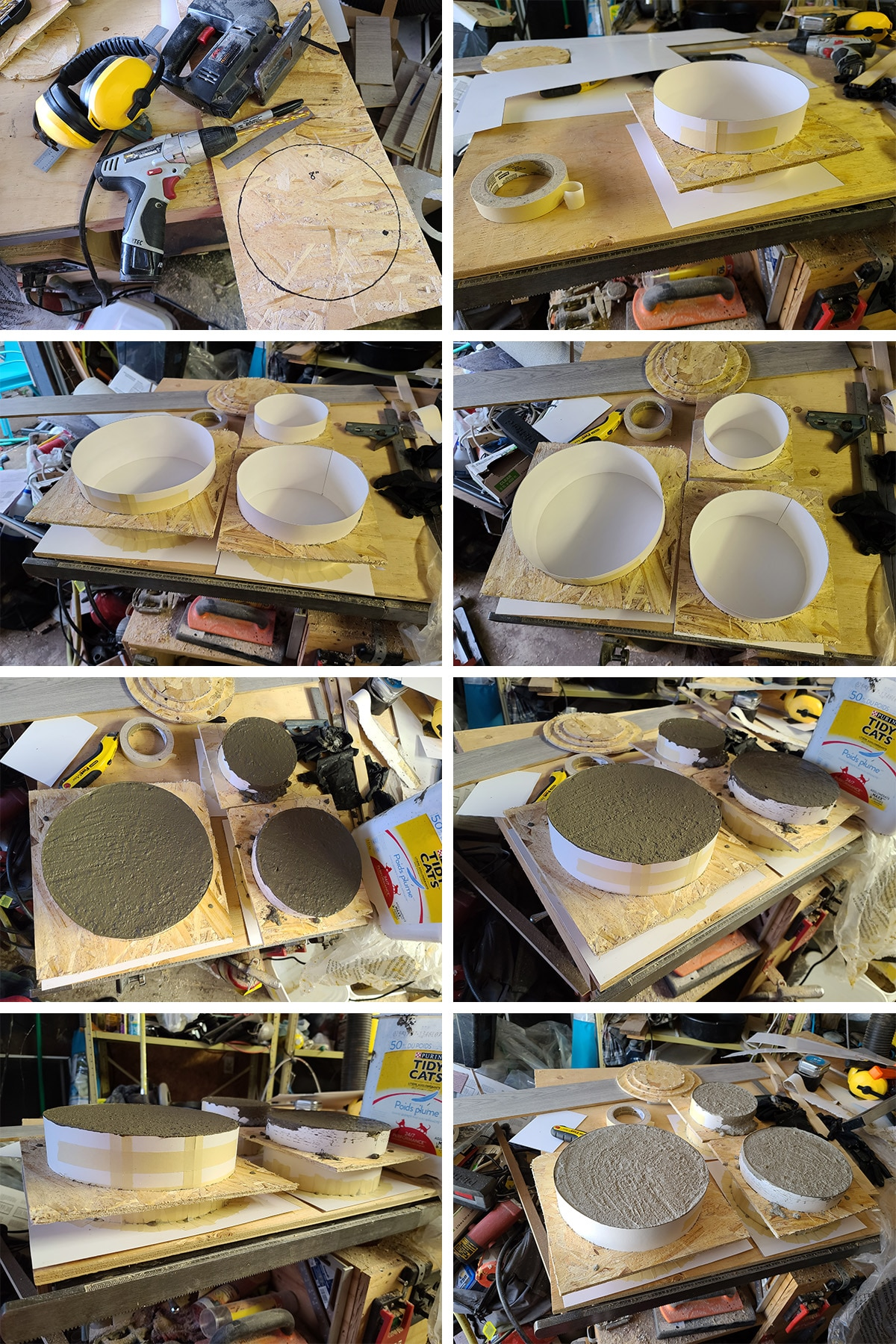 An 8 part image showing the cake layers being molded from cement.