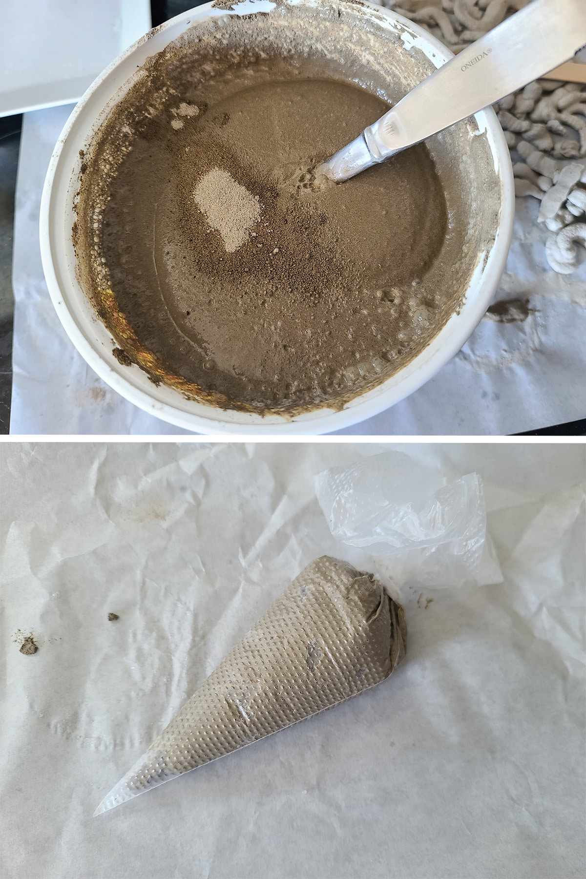 A two part image showing cement being mixed, and a piping bag full of cement.