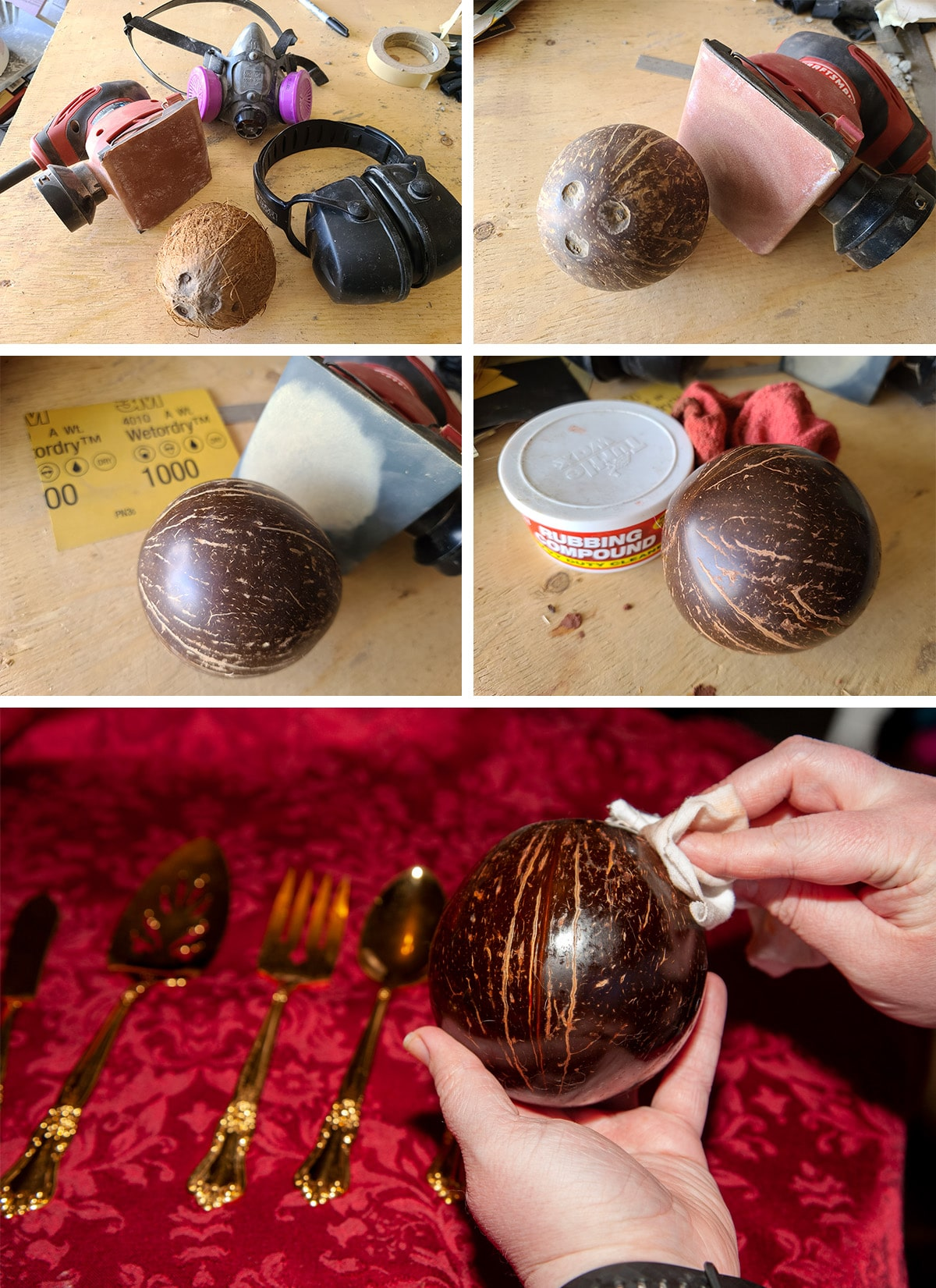 A 5 part progression of the coconut being sanded and polished.