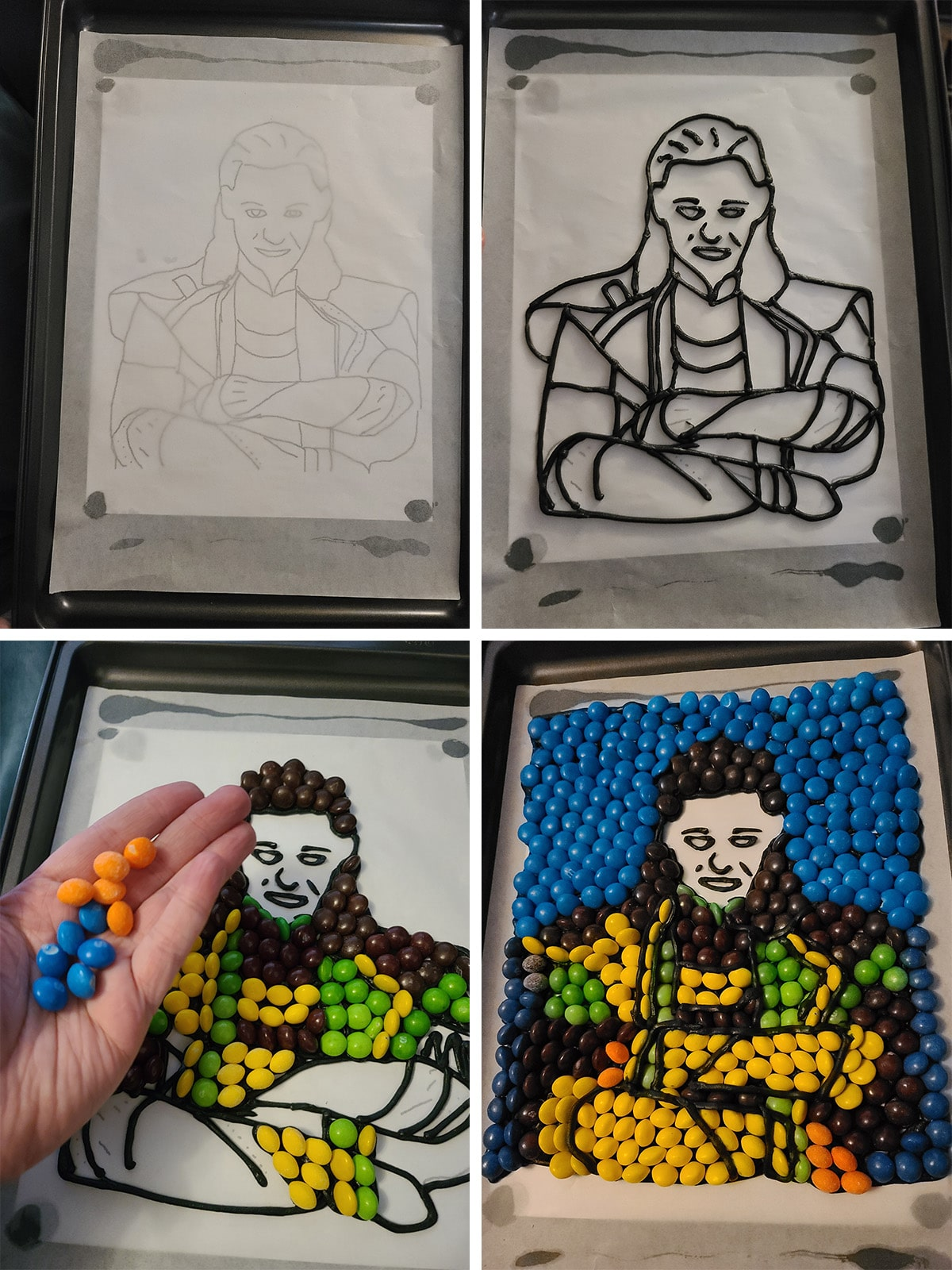 A 4 part progression image of the Skittles Loki picture being made.