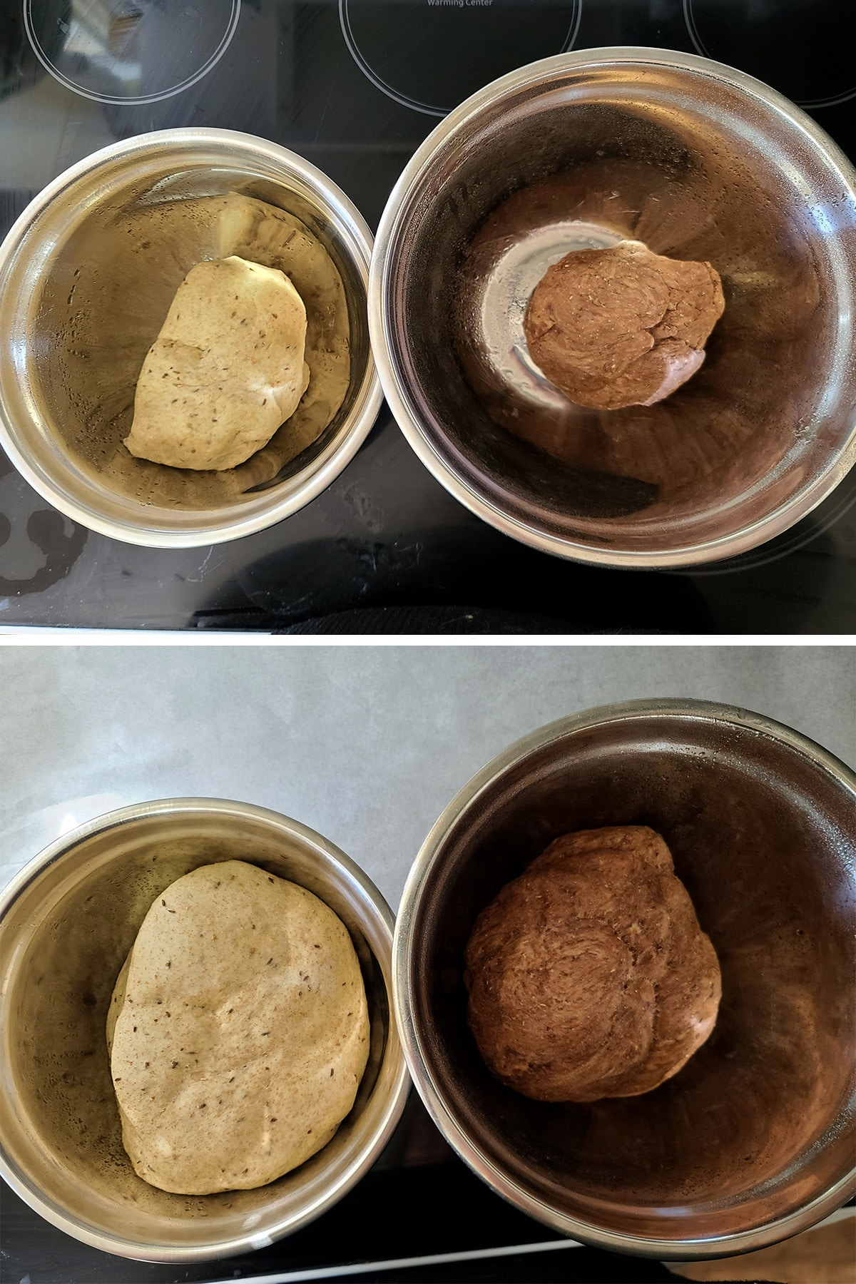 The two doughs, before and after rising.
