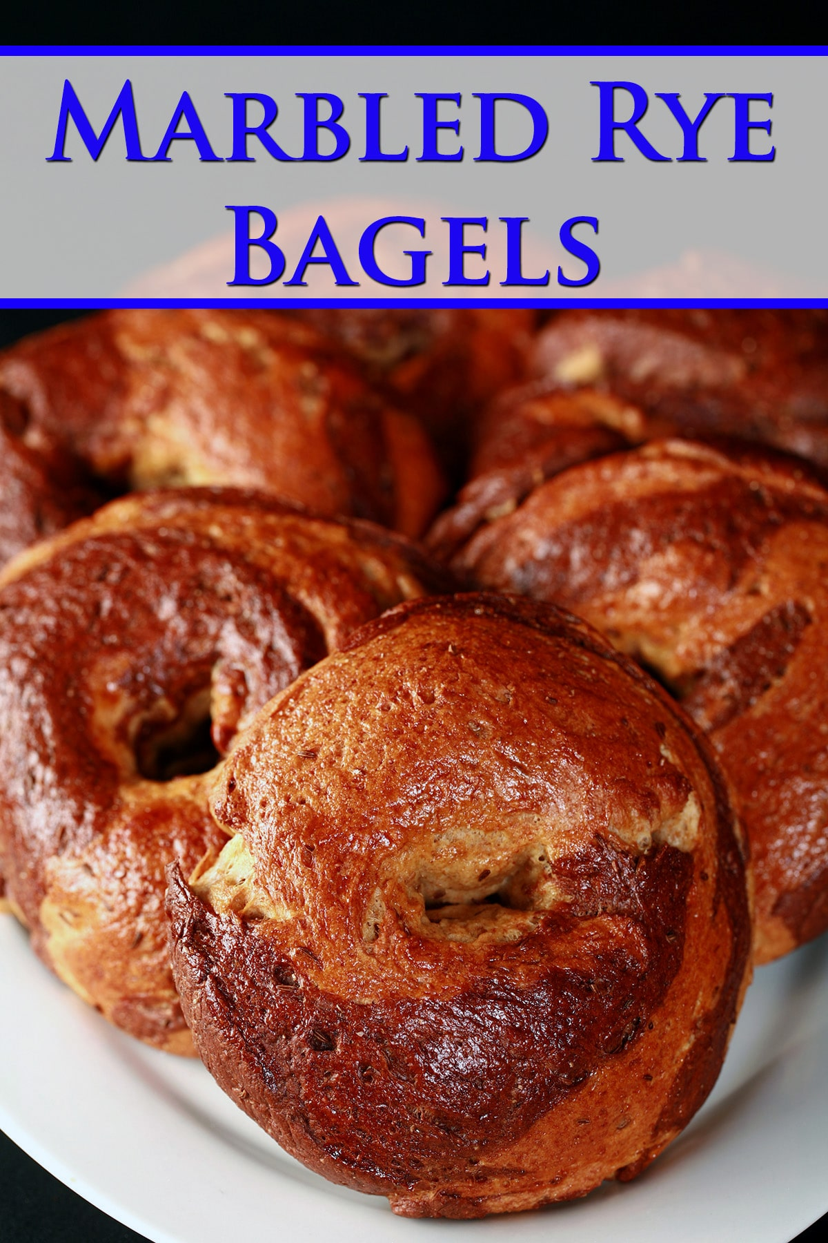 A plate of 6 golden brown marble rye bagels.