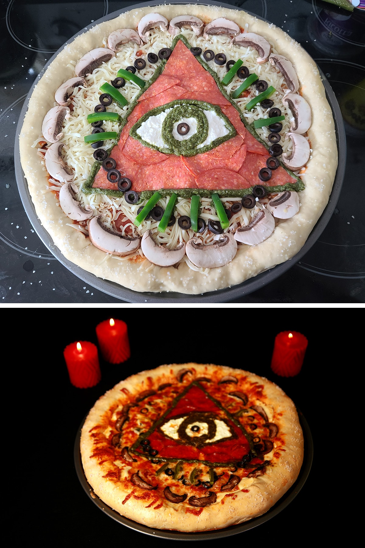"""A pizza with an occult design - pepperoni triange with ricotta and pesto eye in the middle, green pepper """"rays"""", and circles of black olives and sliced mushrooms."""