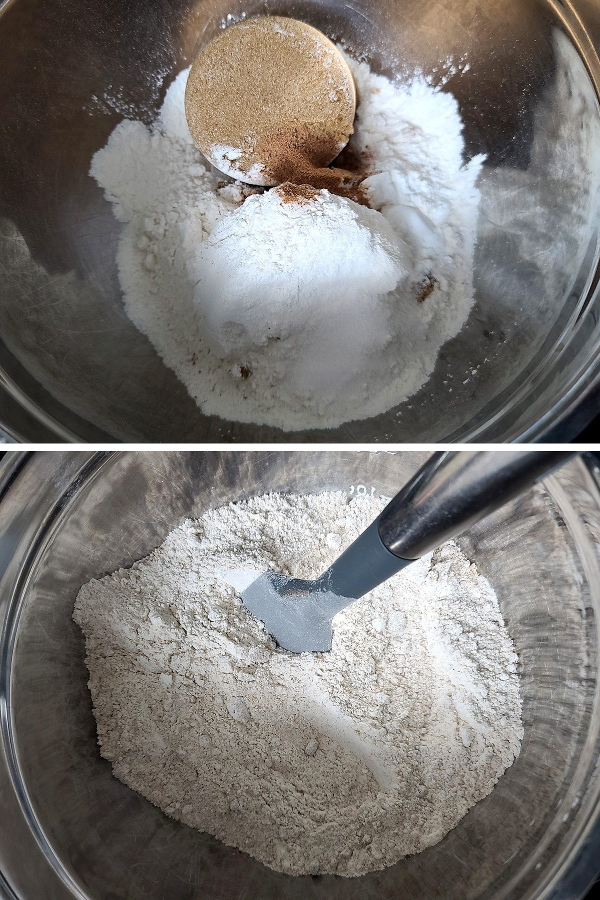 The dry ingredients in a metal bowl, before and after being mixed together.
