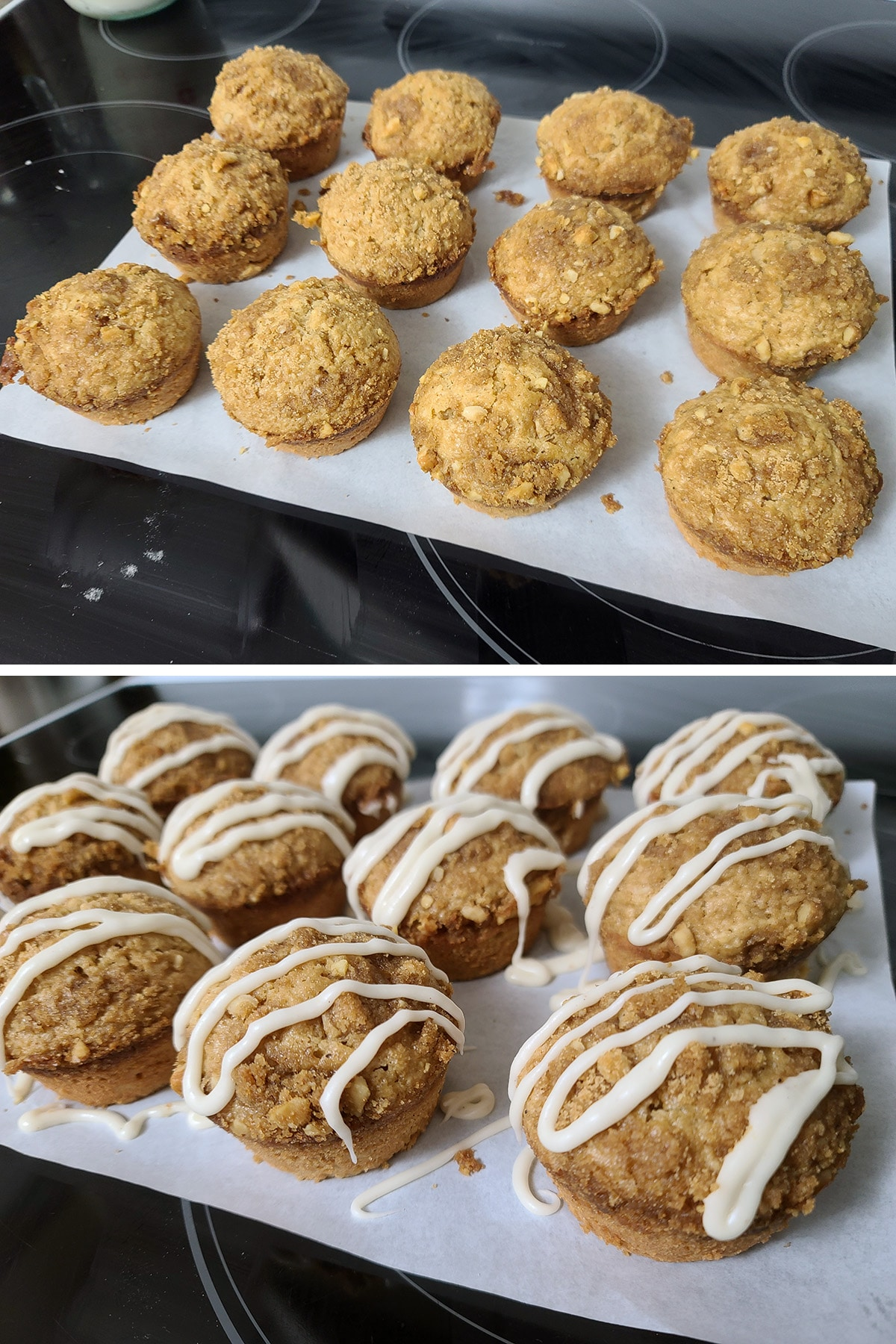 12 muffins on a sheet of parchment paper, before and after being drizzled with maple nutmeg glaze.