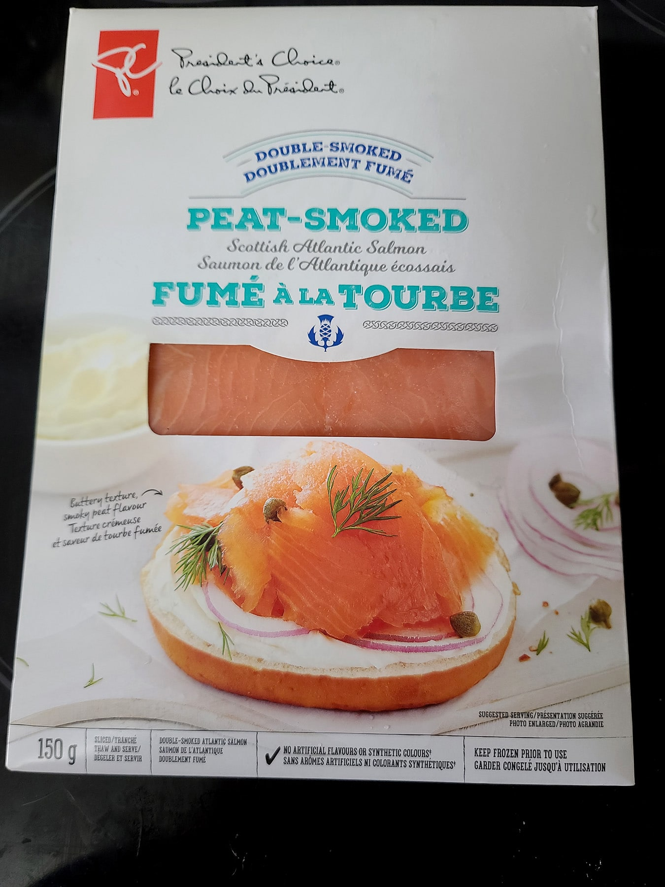 A pack of Presidents Choice Peat Smoked Salmon.