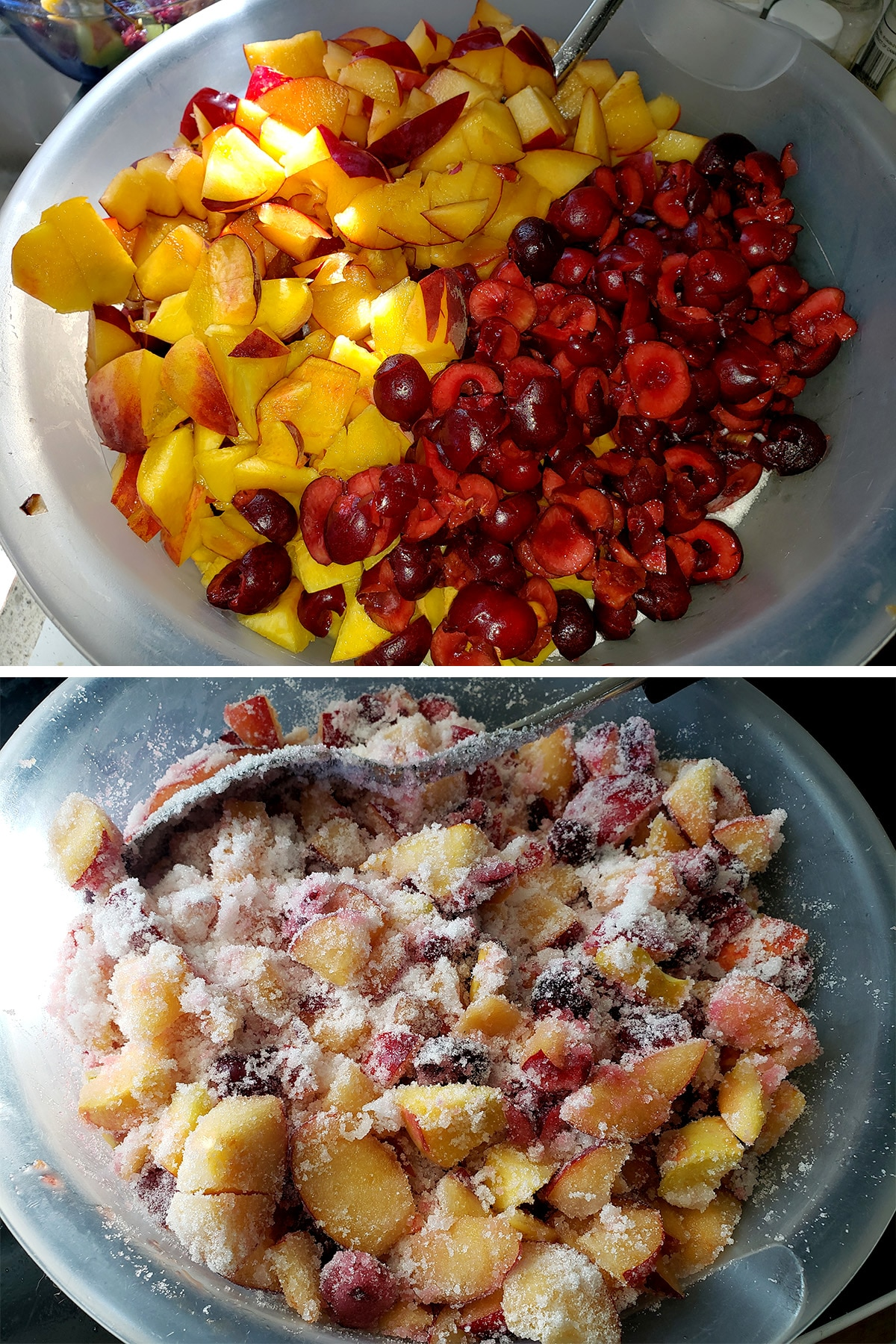 A bowl of cut up stone fruits, with sugar being stirred in.