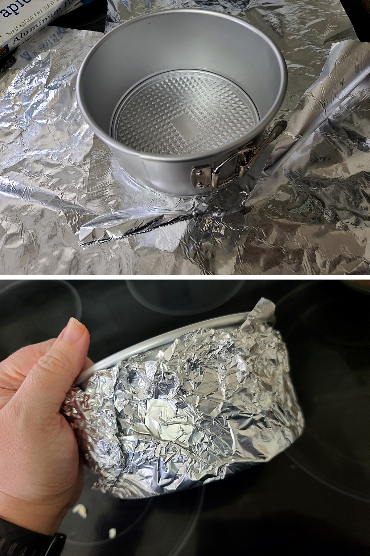 """A 6"""" springform pan is being wrapped in foil."""