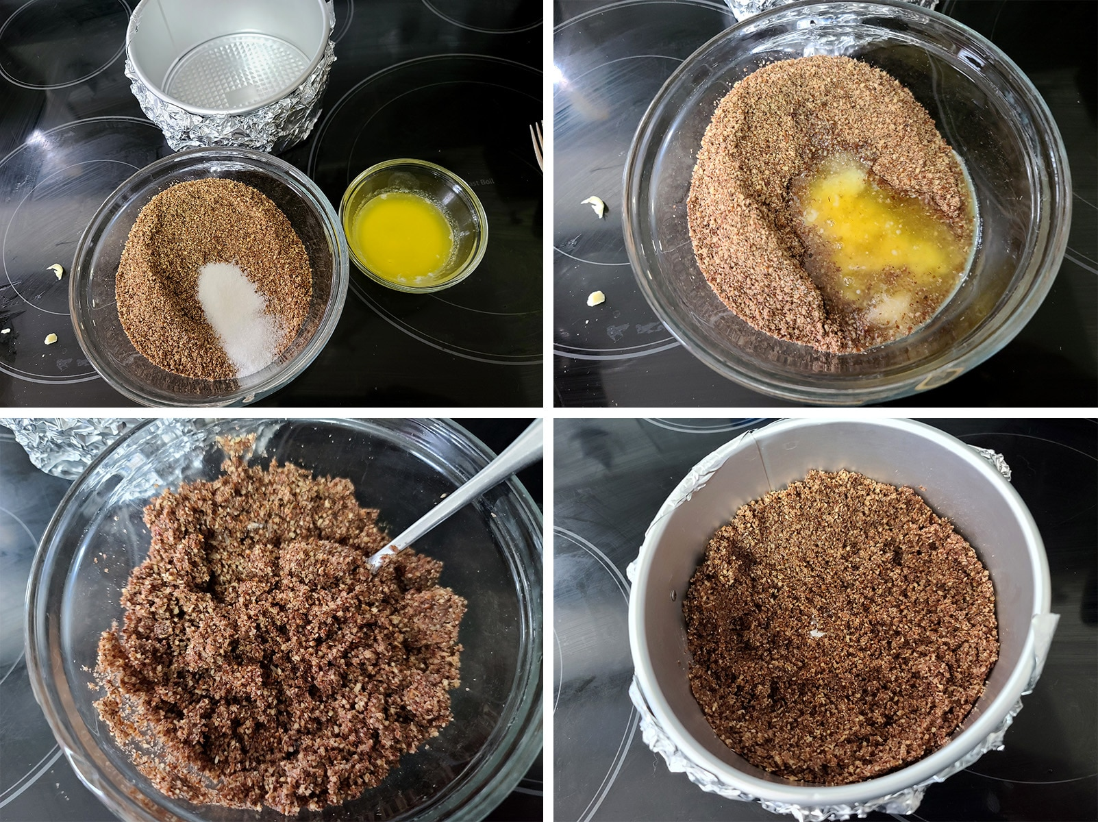 A 4 part image showing the crumb crust being mixed, and put into the bottom of the prepared pan.