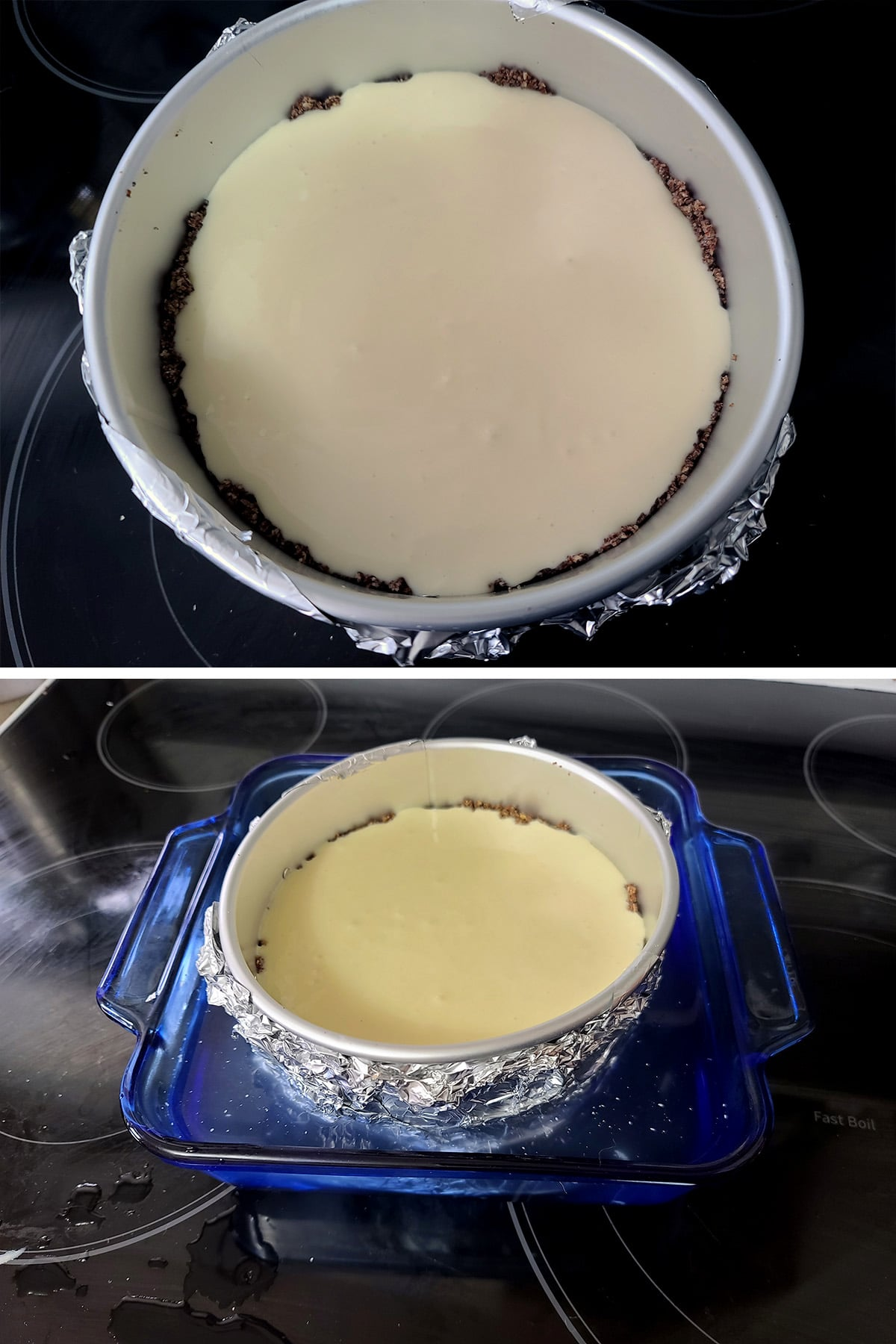 The prepared cheesecake is put in a separate pan, which is then filled with water.