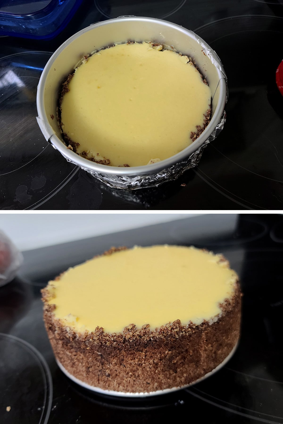 """The finished 6"""" cheesecake, before and after the springform pan ring is removed."""
