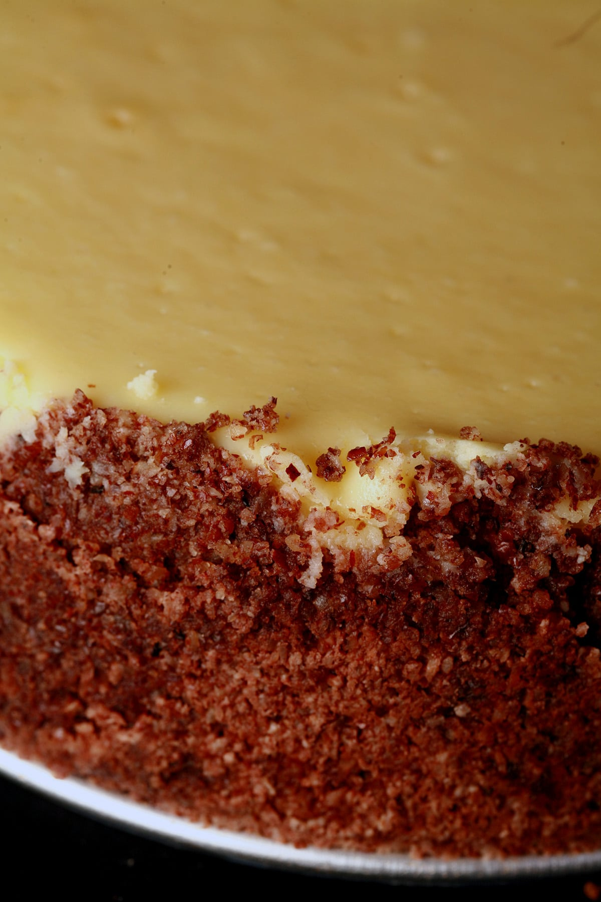 A close up view of a small cheesecake with a pecan crumb crust.
