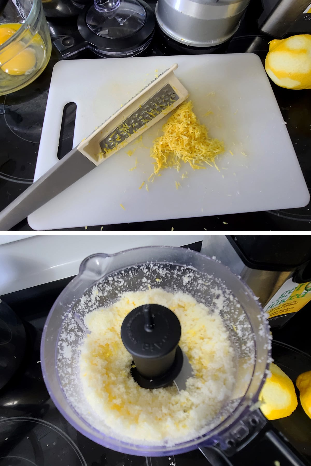Lemon zest on a cutting board, and a mini food processor with sugar and lemon zest in it.