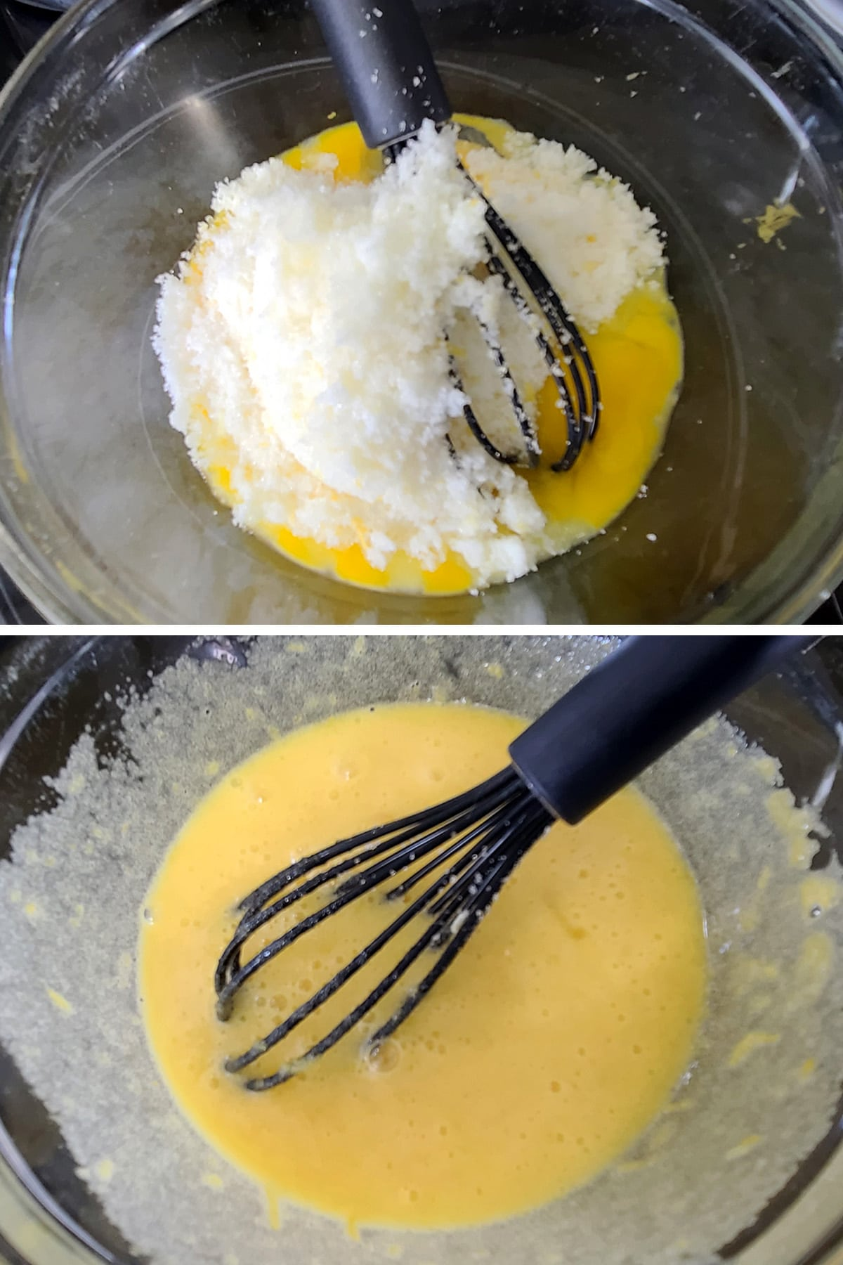 Sugar and egg being whisked together.