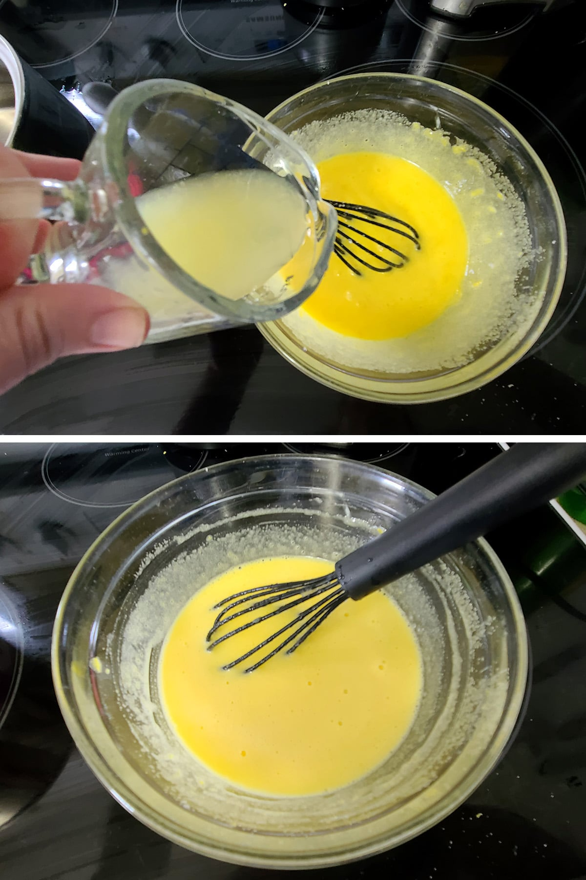 Lemon juice being added to the egg and sugar mixture and whisked in.