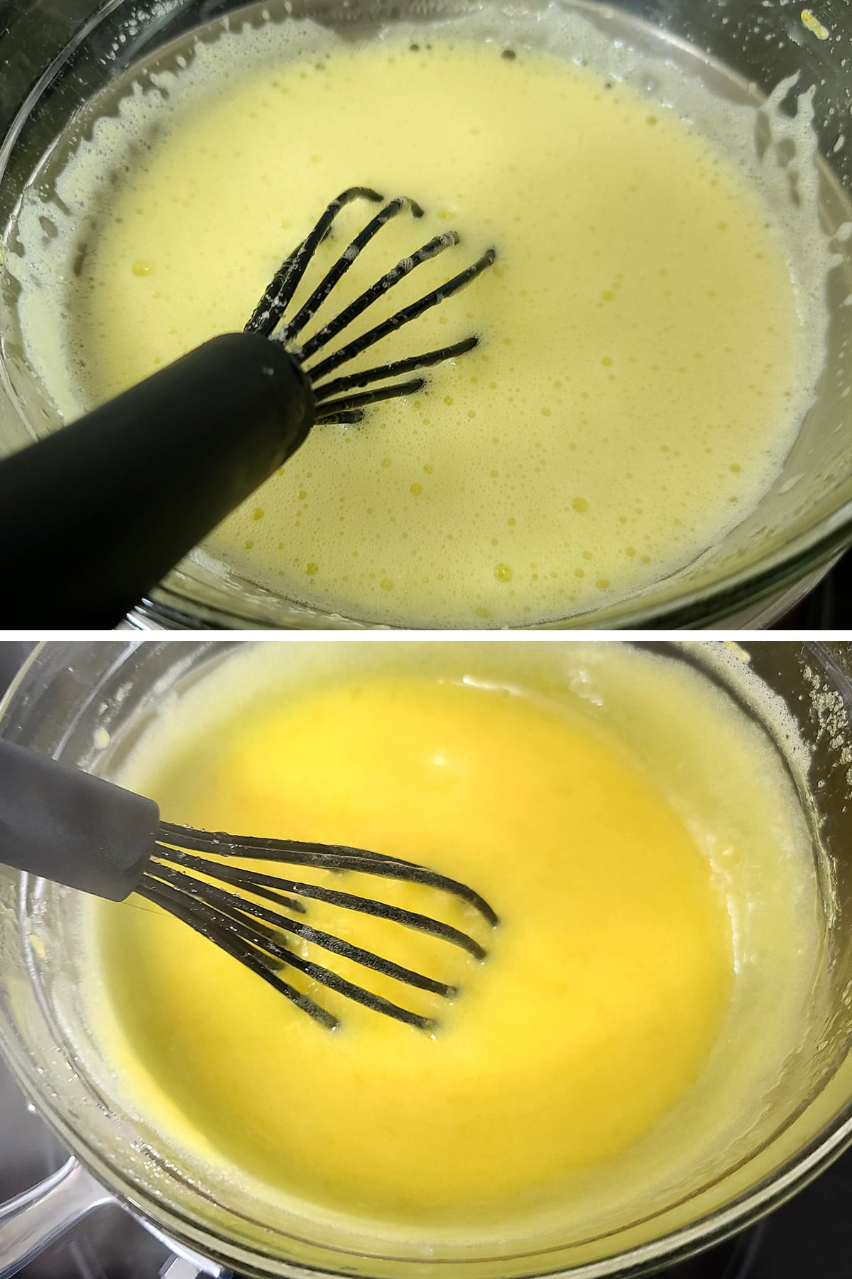 Lemon curd being whisked together over a double boiler.