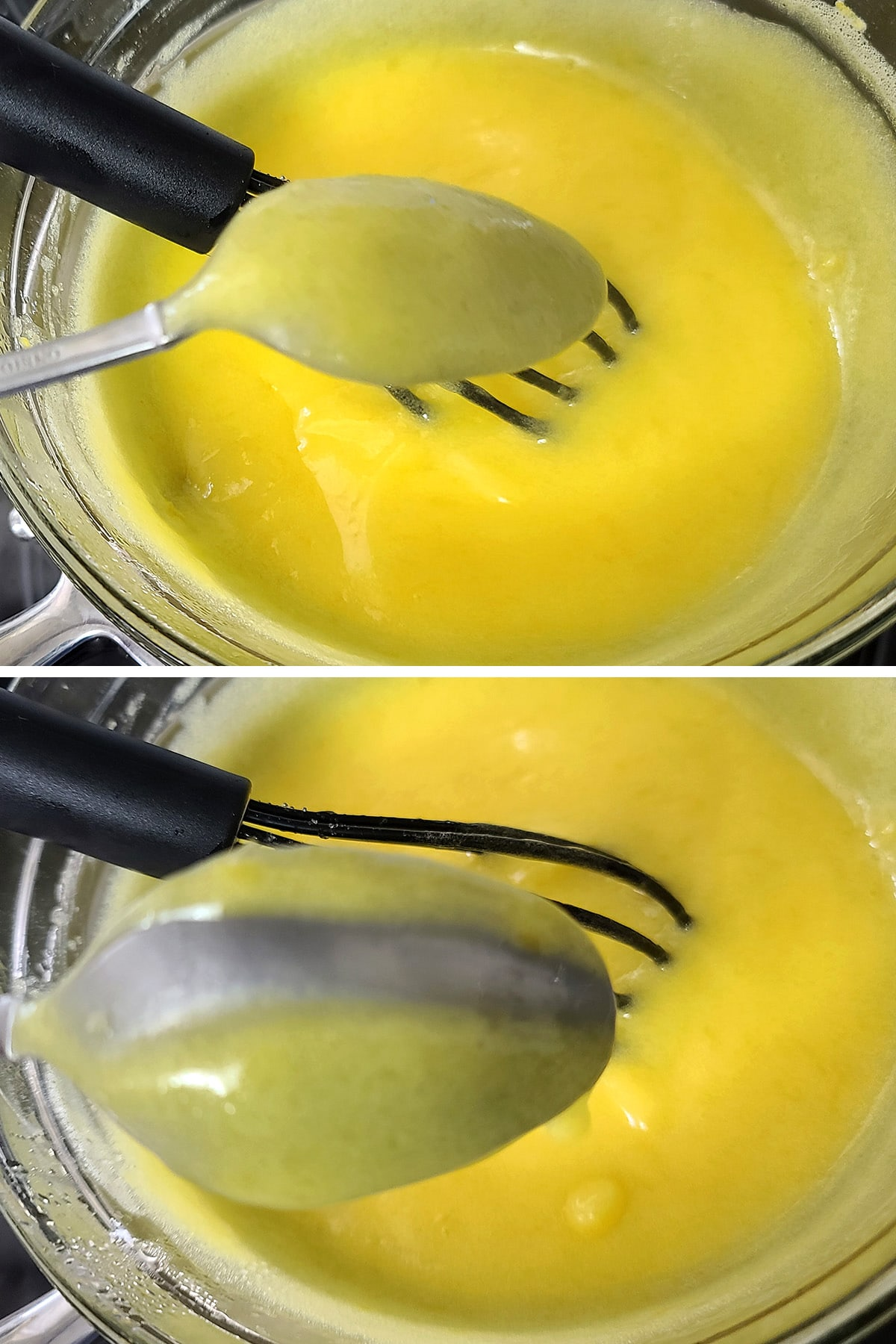 The back of a spoon being held over the bowl of lemon curd. There is a line of spoon  showing in the middle of the curd coating.