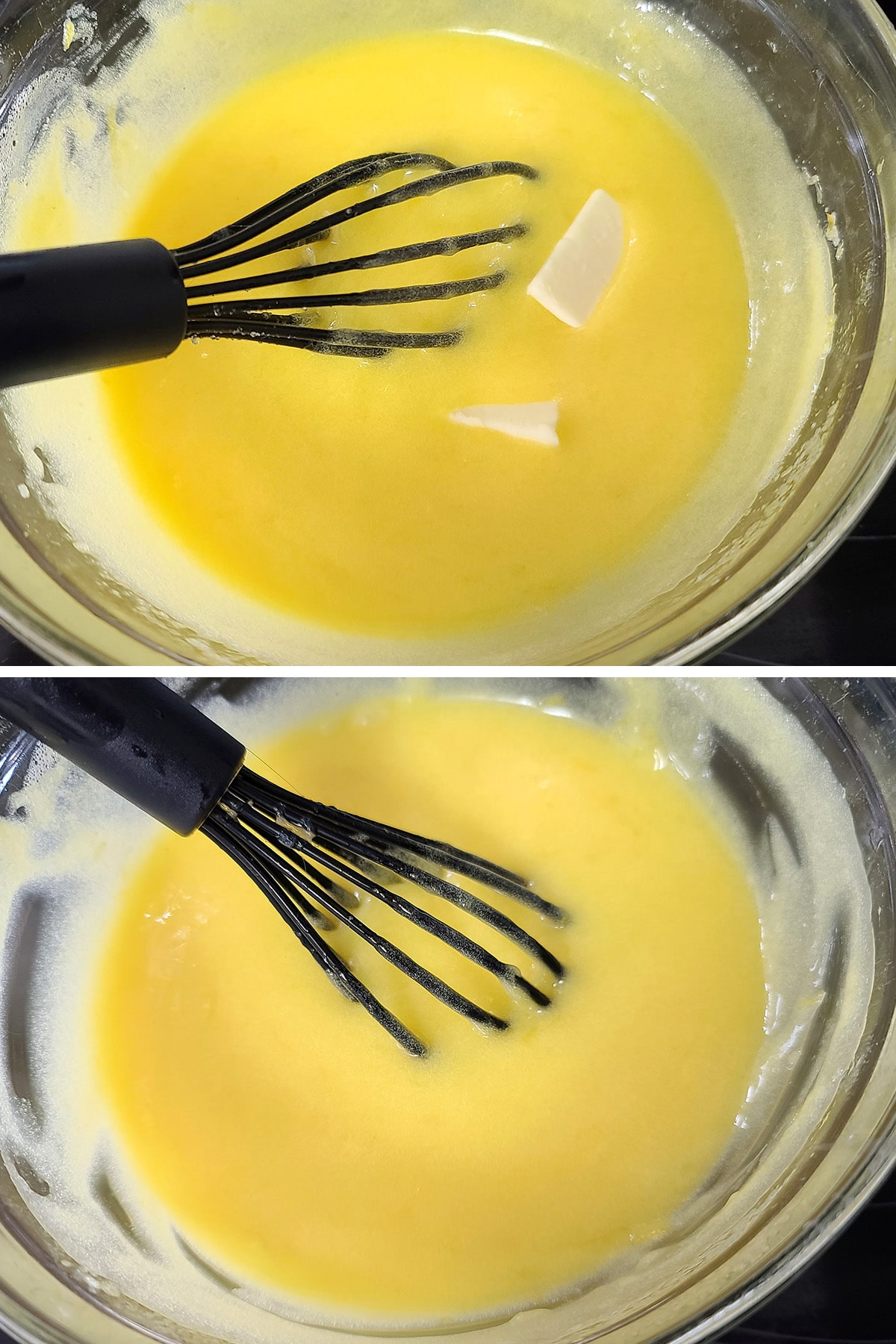 Butter being whisked into the curd.