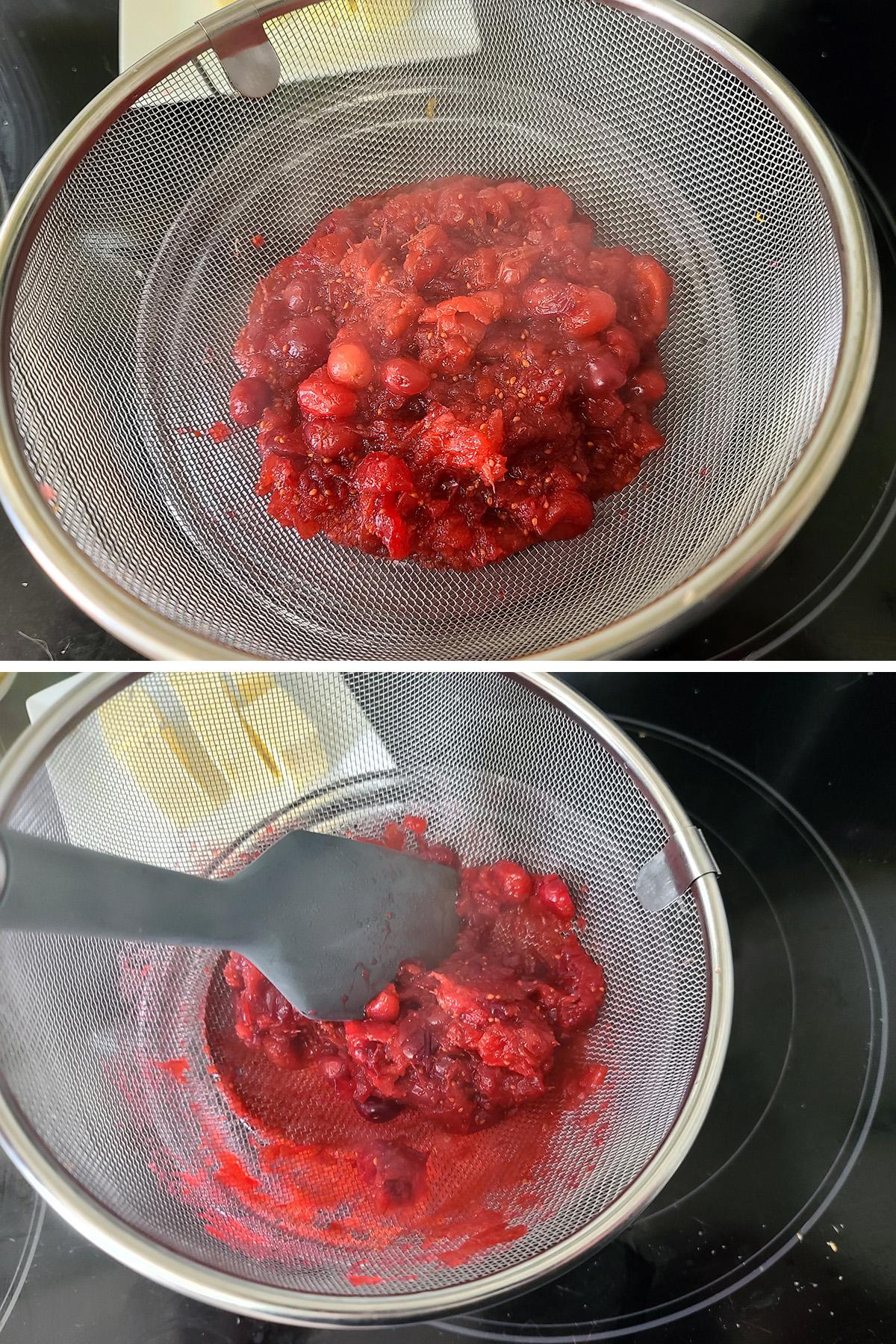 Cranberries being pressed through a wire sieve.