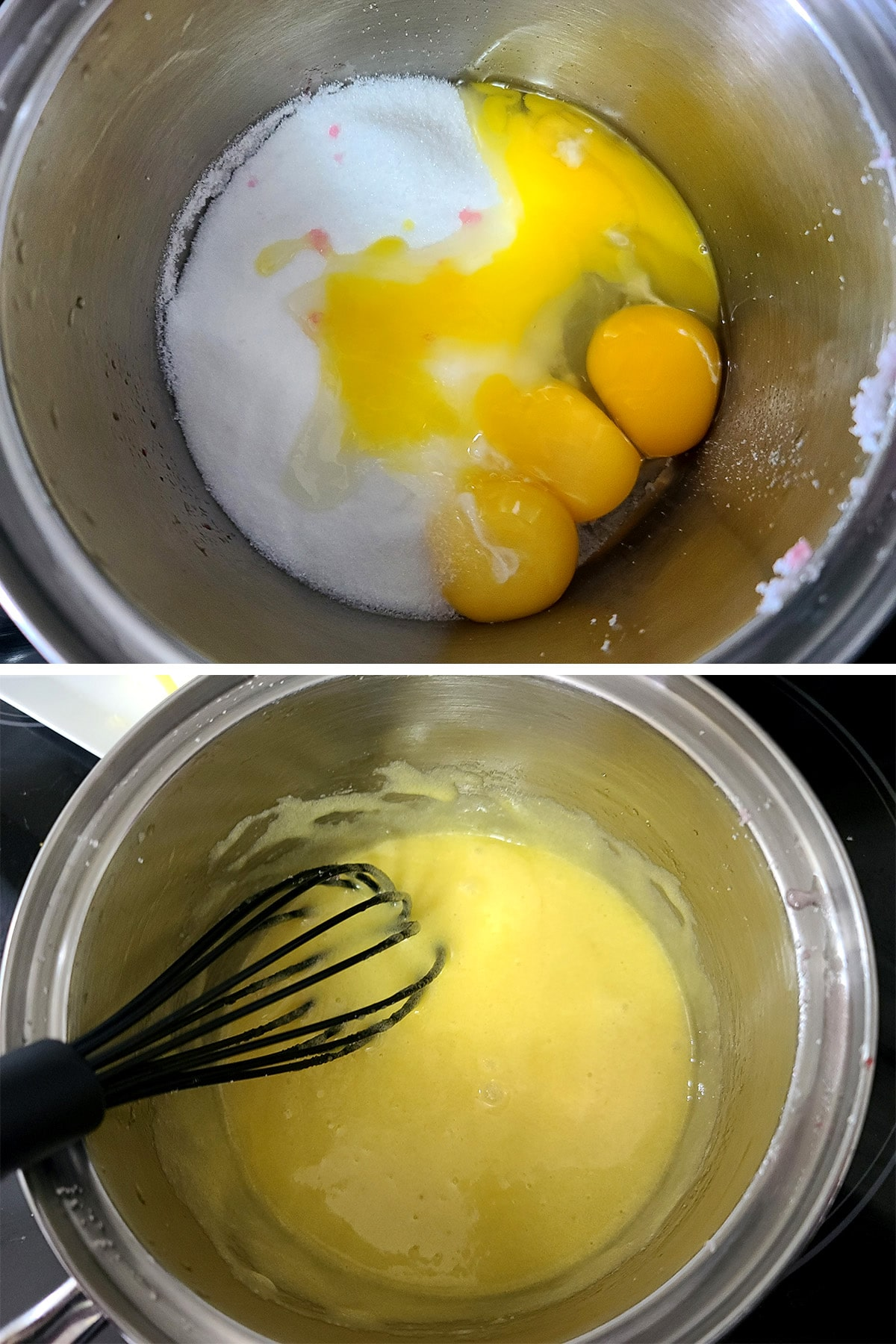 Eggs and sugar being whisked together.