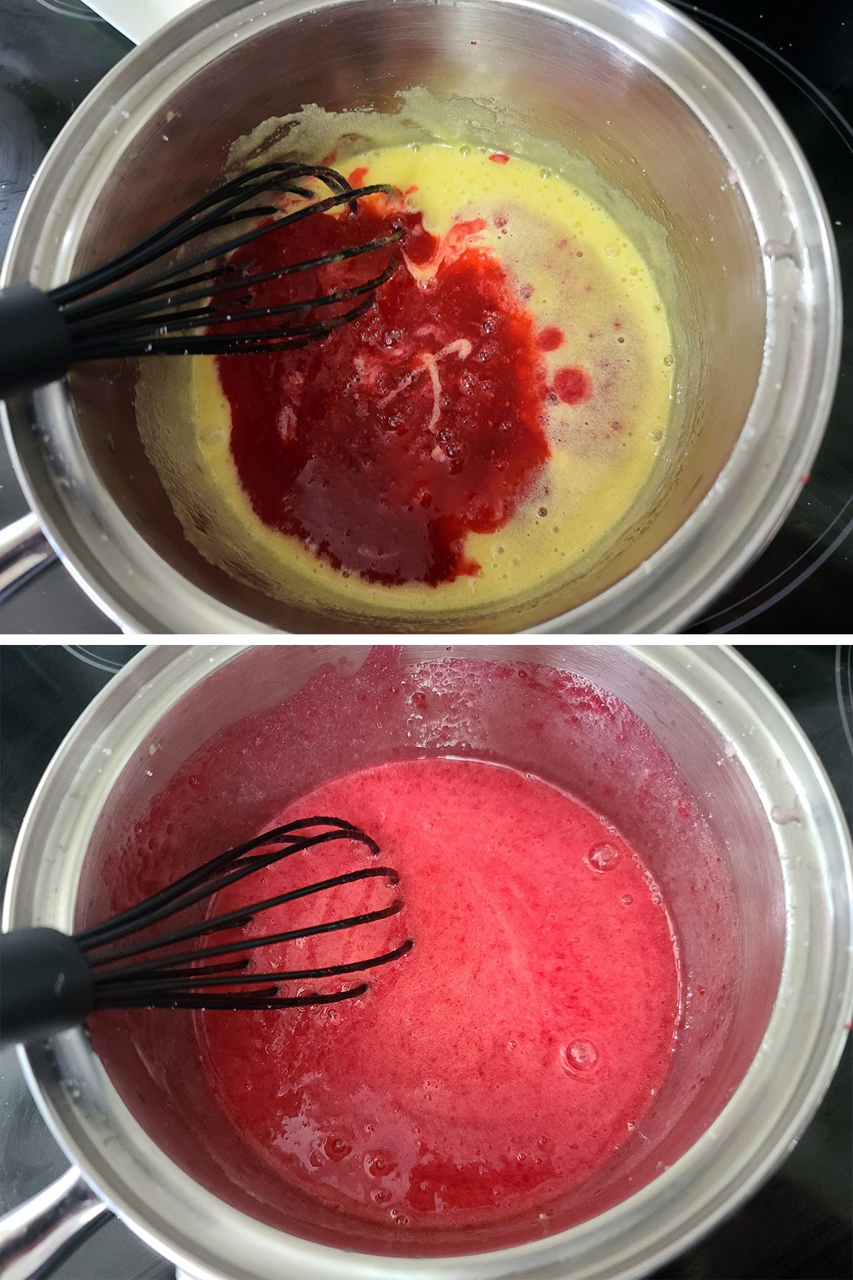Cranberry pulp being added to the eggs and sugar and whisked in.