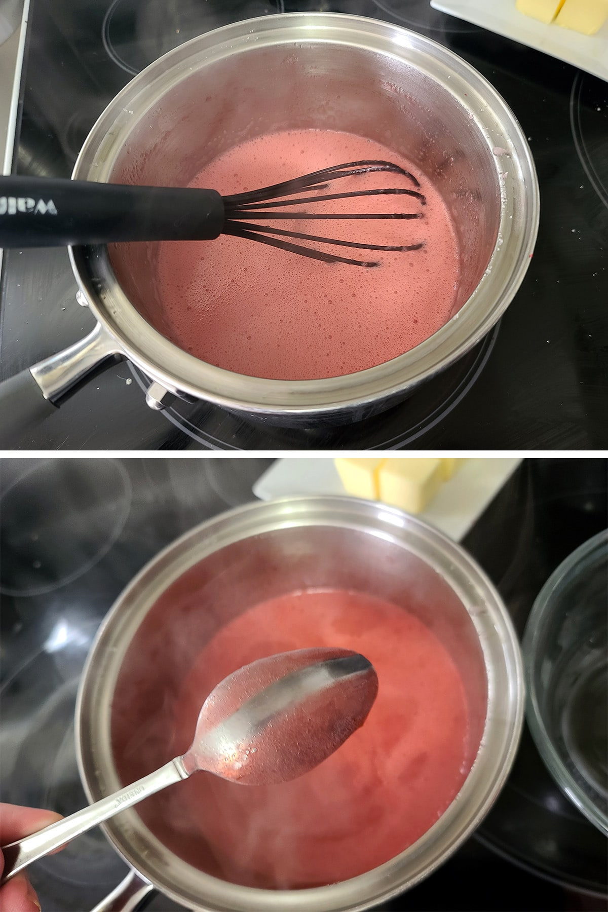 A pot of cranberry curd being whisked to cook, and a curd coated back of a spoon with a streak in it.