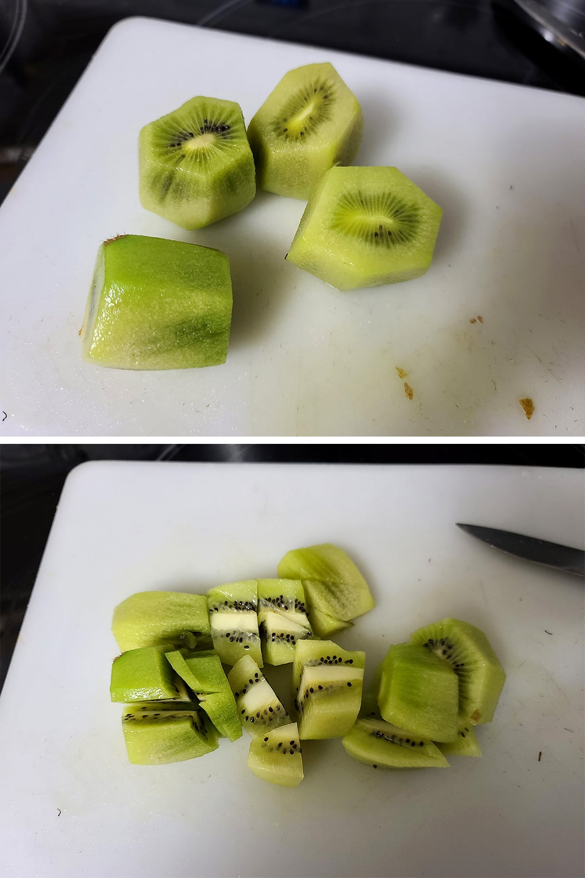 Peeled kiwis being chopped on a white cutting board.