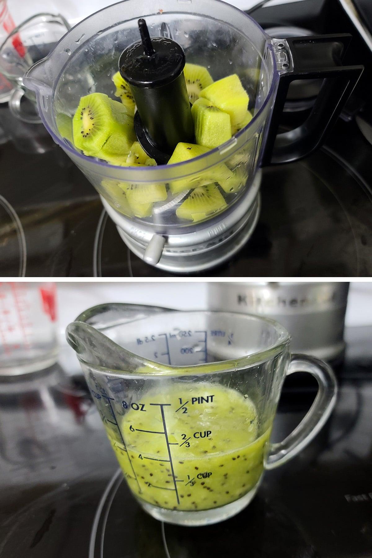 Chopped kiwi being pureed in a mini food processor.