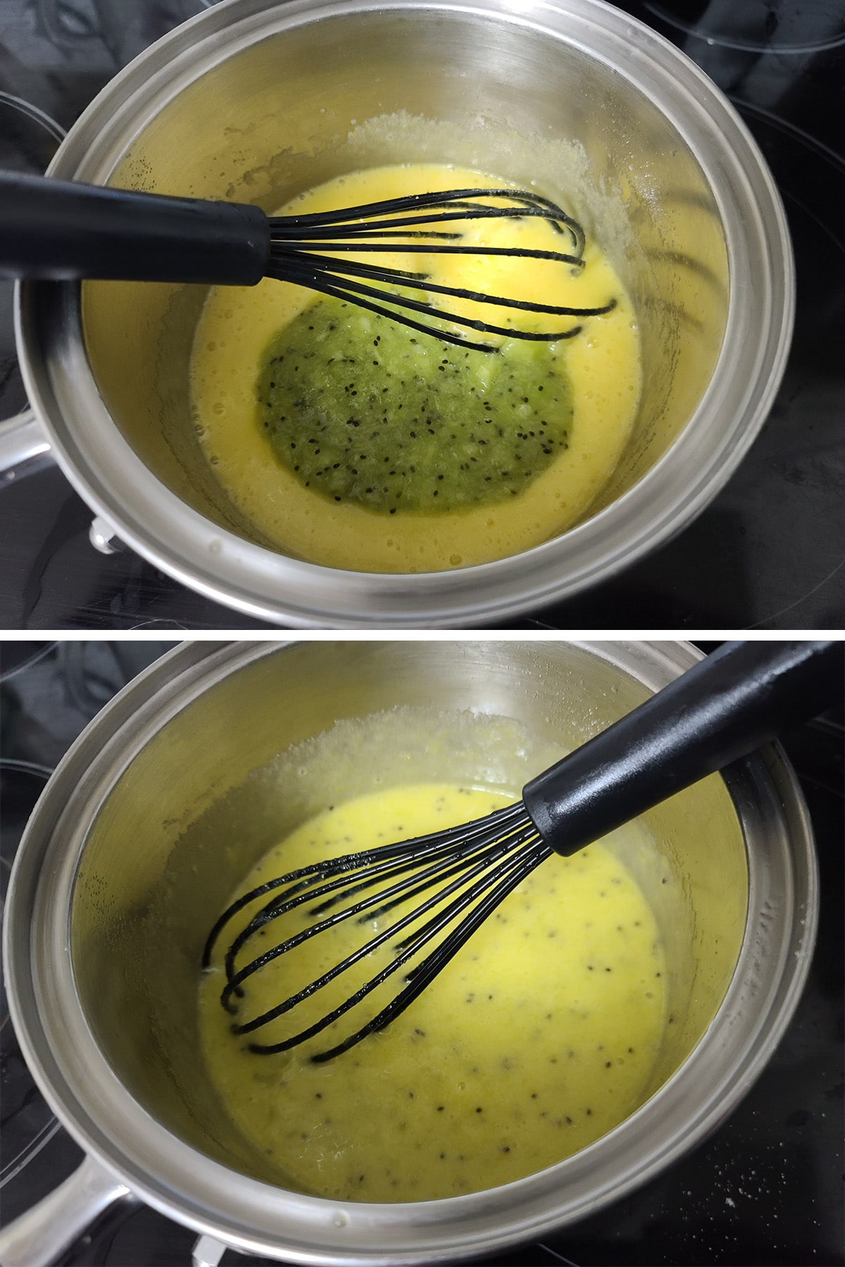 Kiwi puree being added to the egg and sugar mixture.