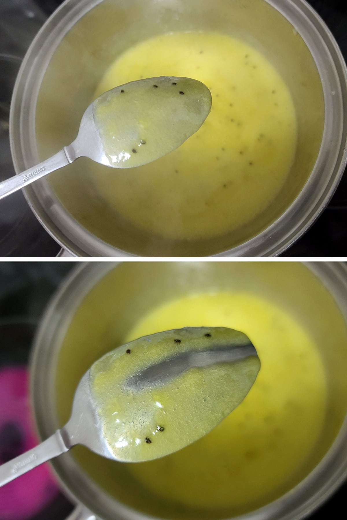 Thick kiwi curd on the back of a spoon, with a trail traced through it.