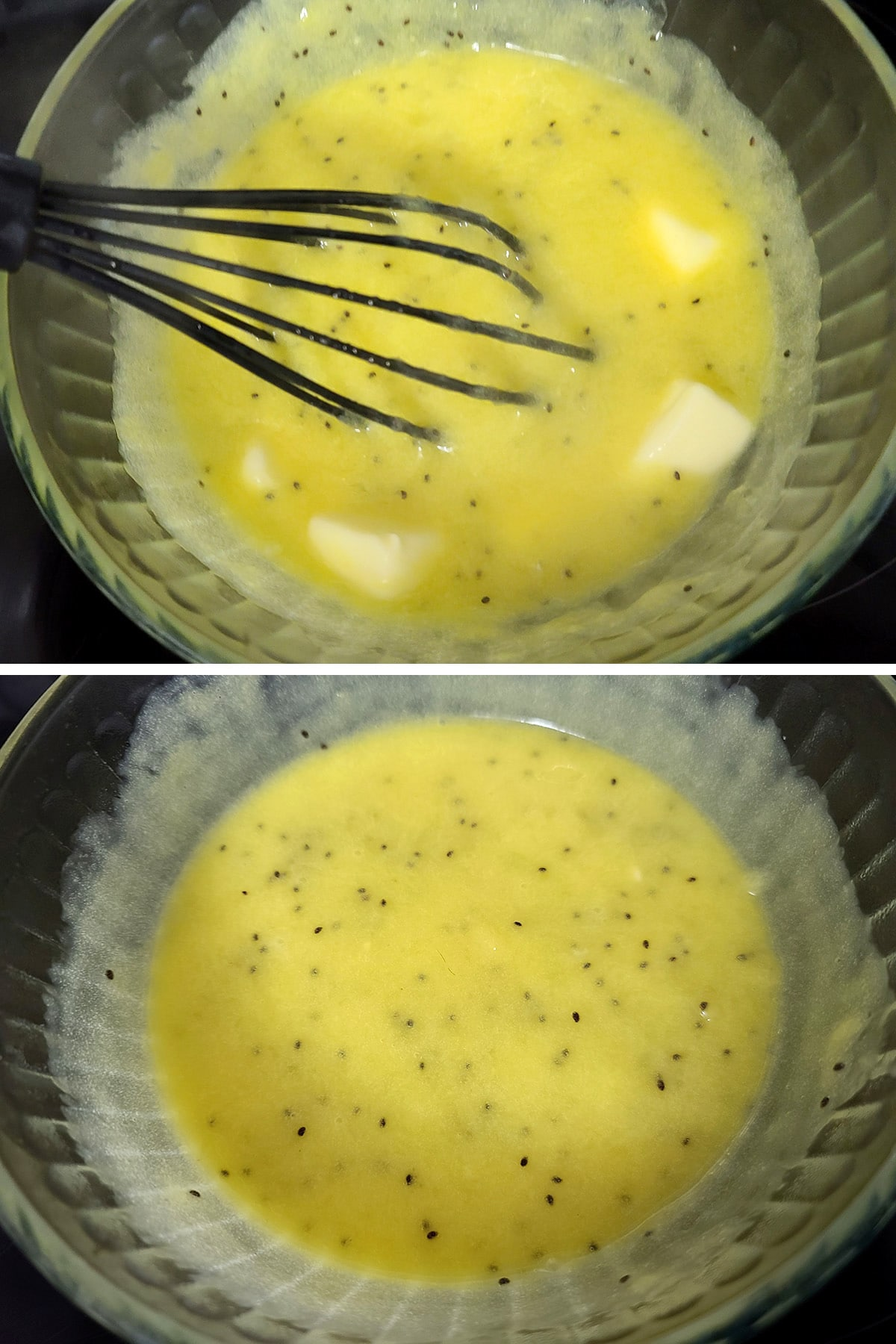 Butter being whisked into the hot kiwi curd.