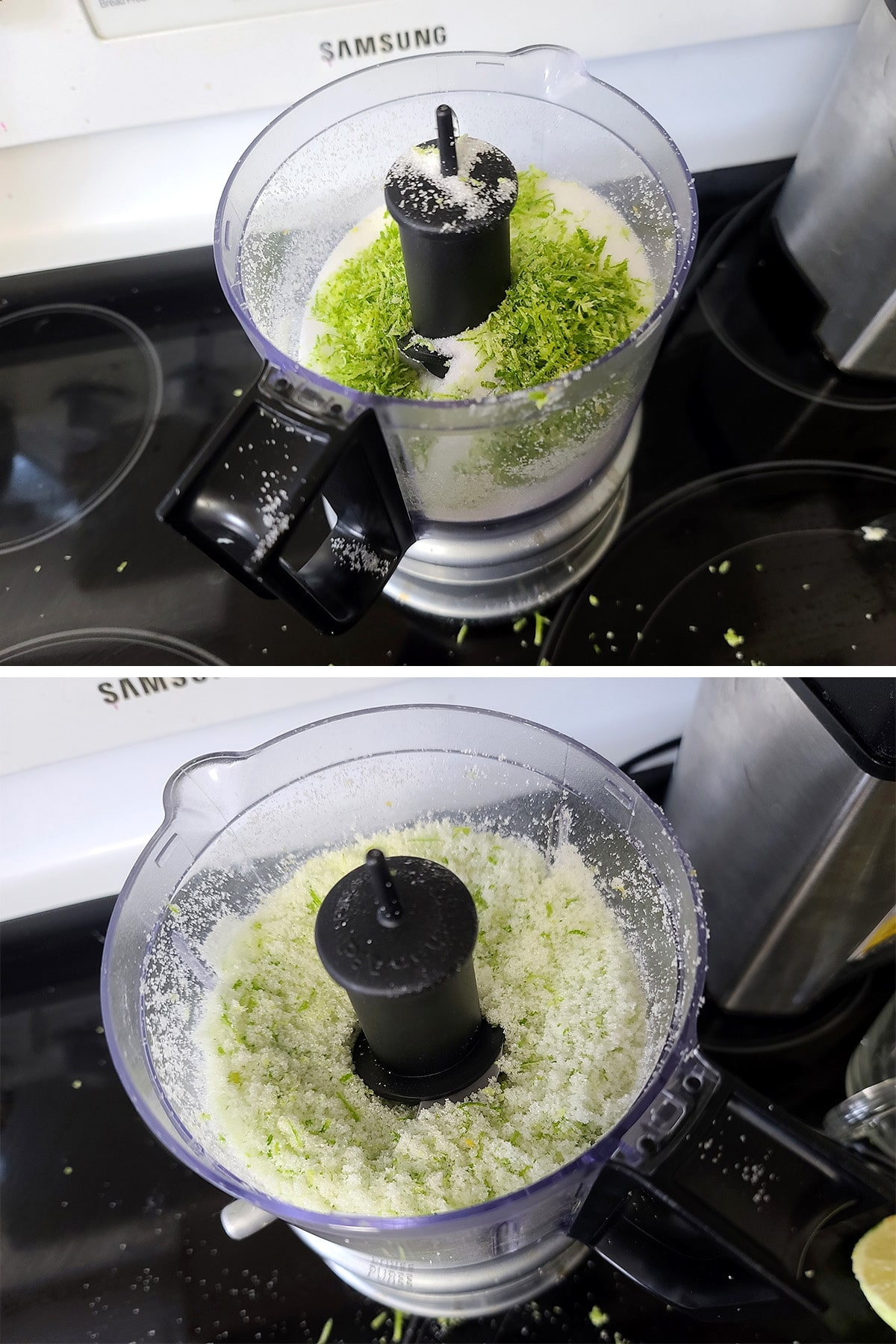 Lime zest and sugar being chopped together in a mini food processor.