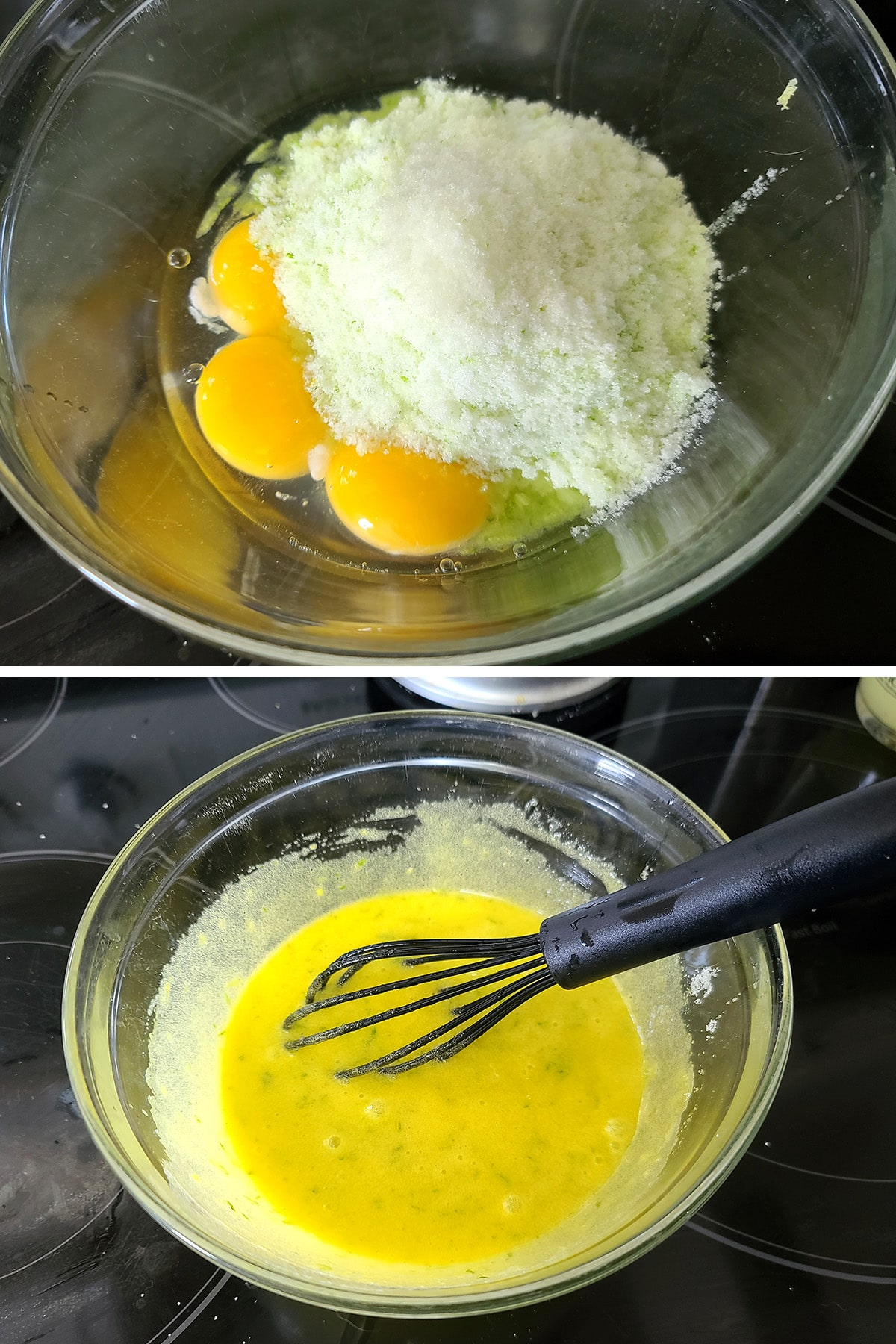 Egg yolks and lime sugar being whisked together.