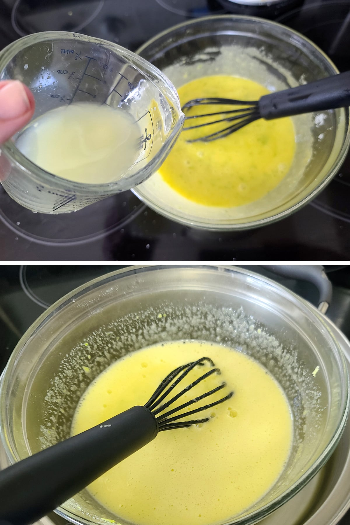 Lime juice being poured into the bowl of sugar and egg yolks.