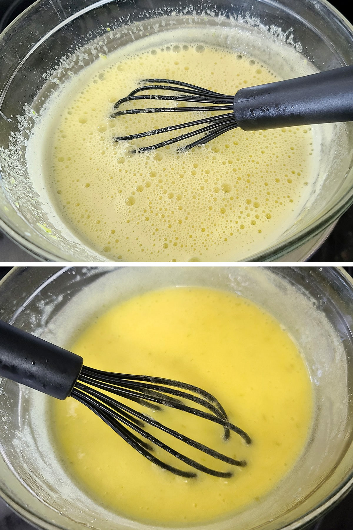 Raw lime curd being whisked together in a double boiler.
