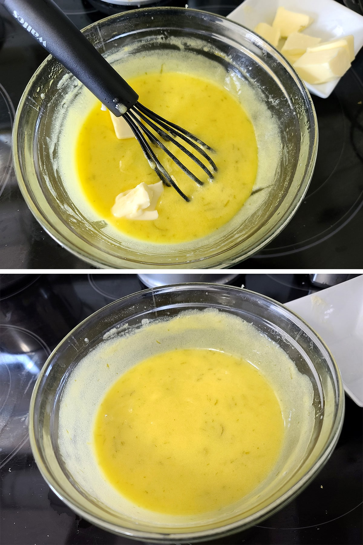 Butter being whisked into the lime curd.